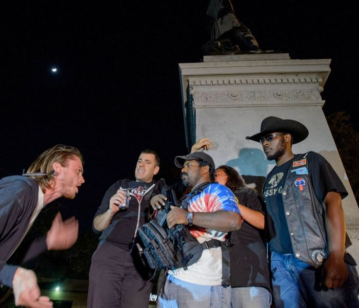 Black Rebel and a group of black Confederacy supporters have been guarding the Jefferson Davis monument at night from the ...