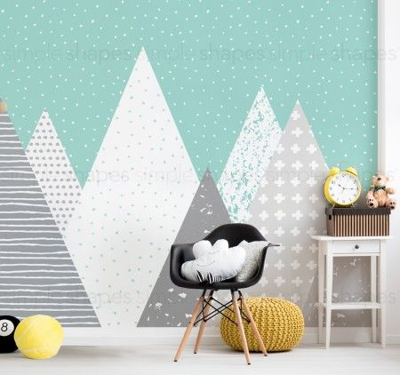Kids Mountains Wallpaper - Mint White - Peel and Stick