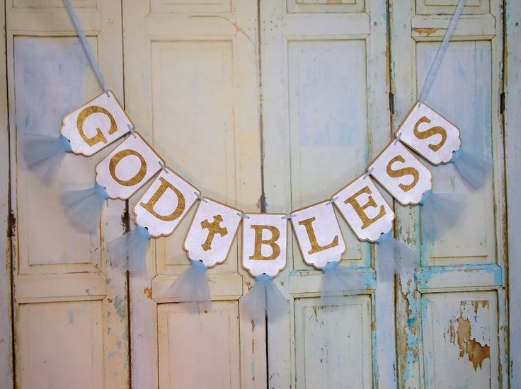 God Bless Banner in Extra Large Size, White Blue and Gold Banner, Baptism Banner, Christening Banner, Boys Baptism Decoration by PaperEtcStudio on Etsy