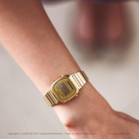 635897bcca1 Relógio Casio Dourado Vintage LA670WGA-9DF Mais