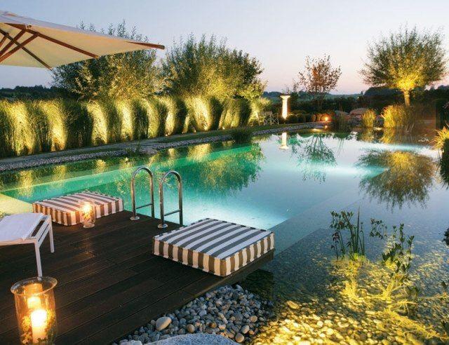 Fancy bio schwimmteich anlegen design terrasse beleuchtung