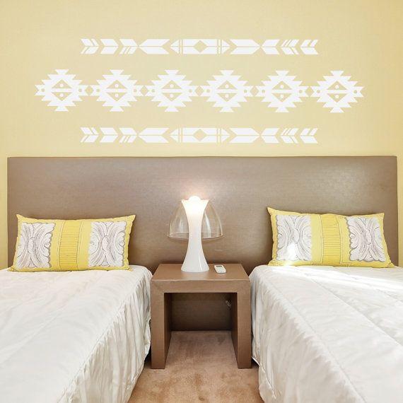 Aztec print vinyl wall decal interior exterior for Aztec bedroom ideas