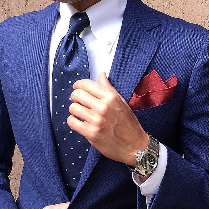 Danielre Zaccone Instagram Ties - Navy Blue Polka Dot Necktie and Pocket Square | OTAA