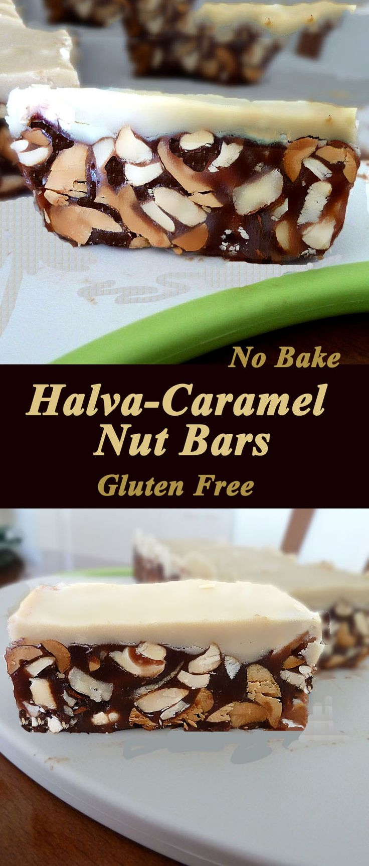No-bake Halva-Caramel Nut Bars. So easy to make, and such a delightful treat. Gluten free