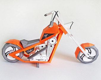 Papercraft,DIY Kits,American Chopper,Motorbike,Printables,Paper bike,Paper toys,digital download,Origami,Motorcycle,Party decoration