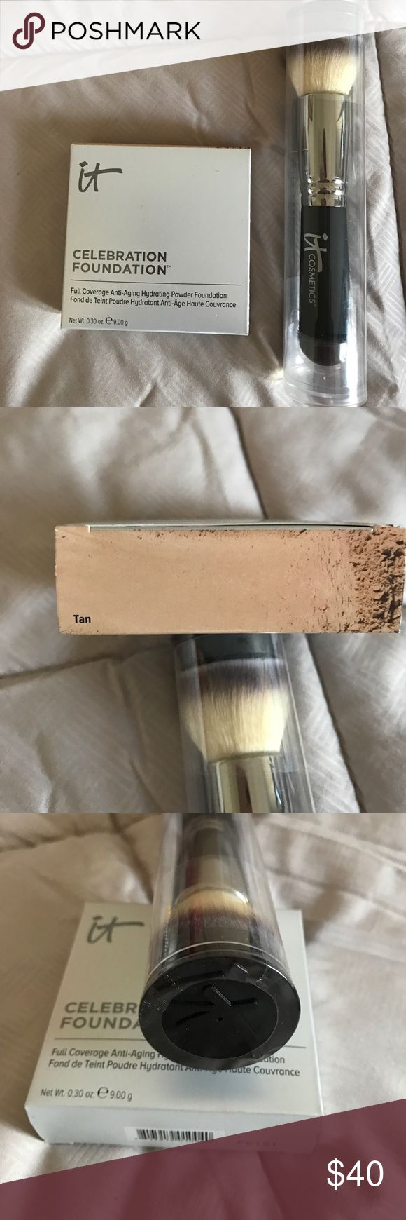 "IT COSMETICS CELEBRATION FOUNDATION & BLEND BRUSH Brand new never opened , I bought two and only need one $35 and $48 value!!  FOUNDATION is in ""Tan"" IT COSMETICS Makeup Foundation"