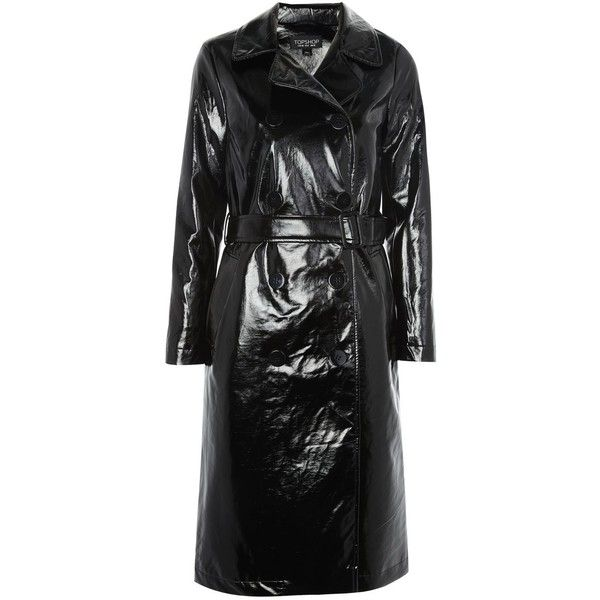 Topshop Clean Vinyl Trench Coat (290 BRL) ❤ liked on Polyvore featuring outerwear, coats, black, vinyl trench coat, trench coats, double-breasted trench coats, shiny coat and topshop coats