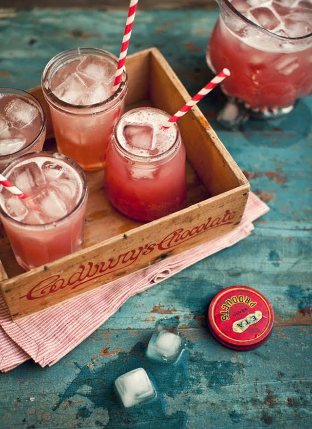 Yum!  Equal parts cranberry juice, apple juice, and ginger ale; add ginger ale last and serve with ice