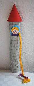 rapunzel craft. Use a paper towel roll for the tower.