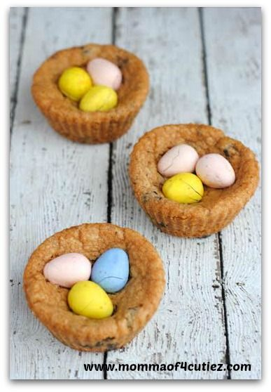 Easter Cadbury Chocolate Chip Cookie Cups.