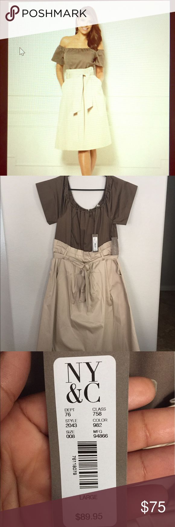 NY&Co dress from Eva Mendes collection Beautiful two-toned beige dress. Can be worn off shoulder and has two pockets with belt. Size L-never worn. Dresses Midi