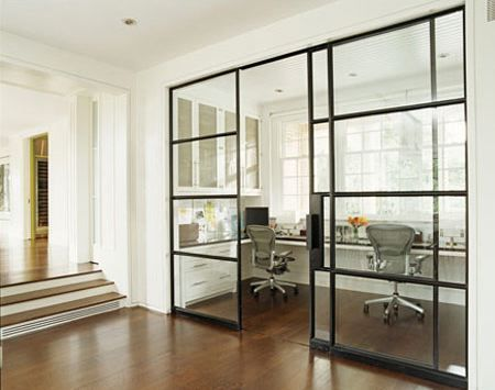 House Beautiful: Gorgeous glass sliding doors and U shaped built-in desk for two.