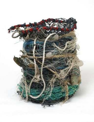 One of a series of weavings by Australian artist Aly de Groot using marine debris that would otherwise be polluting the seas and endangering marine life.
