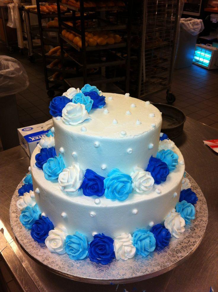 Birthday Cakes - Butter cream wedding cake w/ Light blue ...
