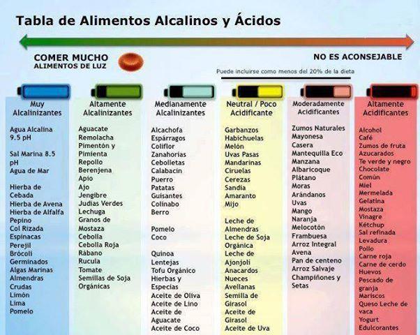 Alimentación y alimentos ácidos o acidificantes y alcalinos o alcalinizantes.