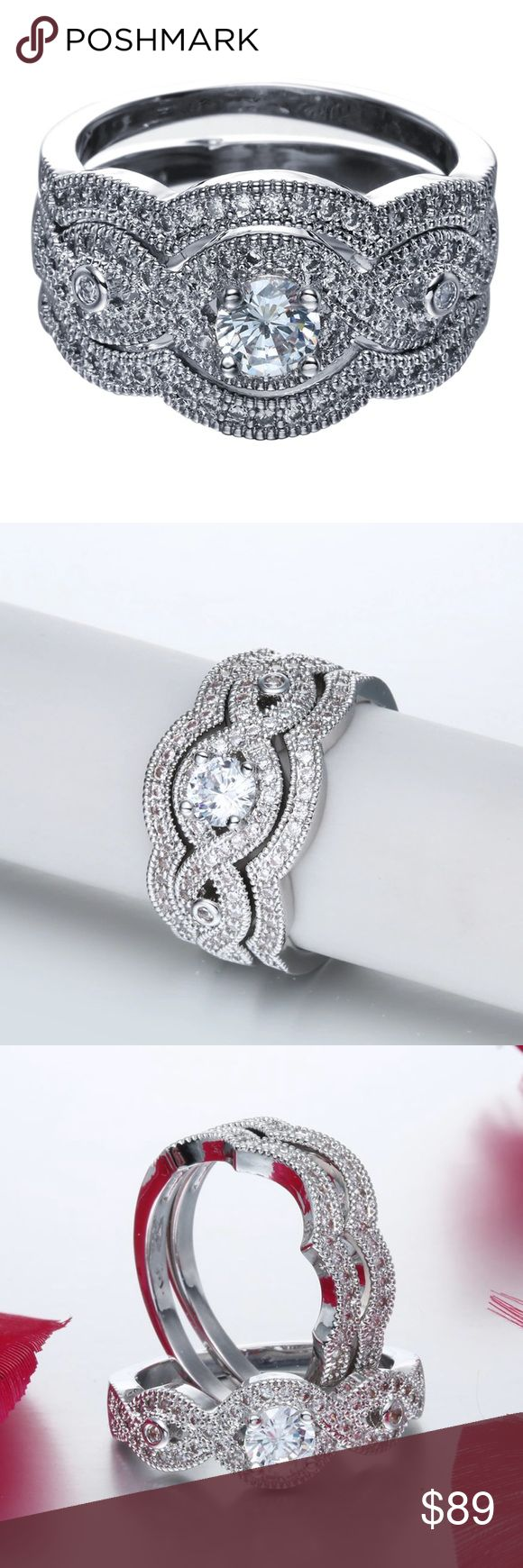 Swirl pattern white gold wedding ring for brides fashion fill - New 18 K White Gold Wedding Ring Set Brand New 18 K White Gold Filled With