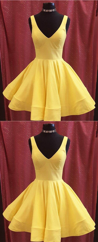 Short Yellow Semi Formal Dresses