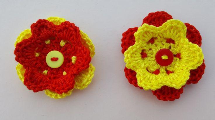 Lot de 2 appliques fleurs jaunes et rouges au crochet : Autres pièces pour créations par atelier-crochet