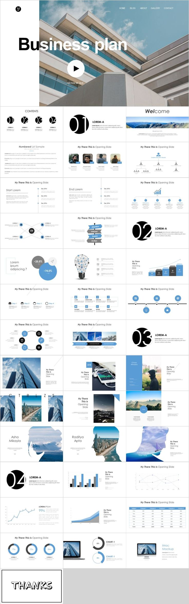 Blue business plan Slides Business plan presentation