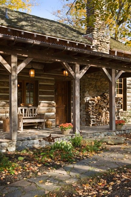log cabin front porch  Love the stone