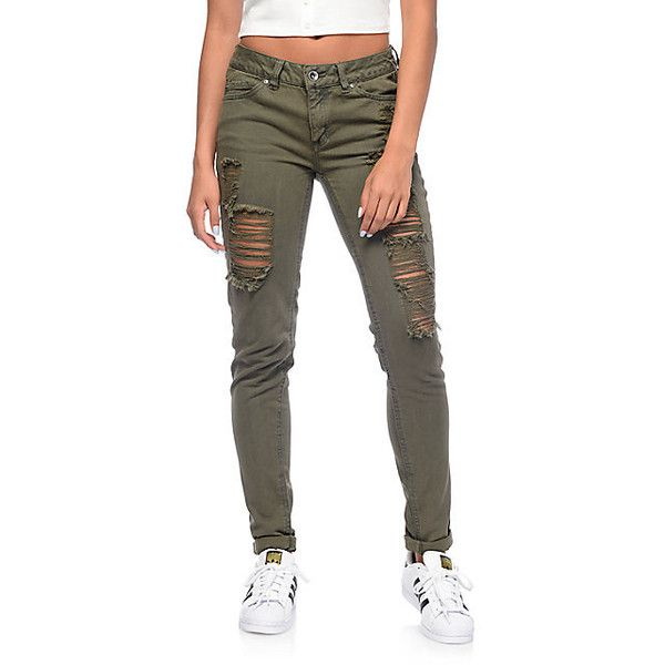 Rewash Vintage Reunion Olive Destroyed Skinny Jeans ($30) via Polyvore featuring jeans, ripped skinny jeans, skinny flare jeans, destroyed skinny jeans, olive skinny jeans and flared jeans