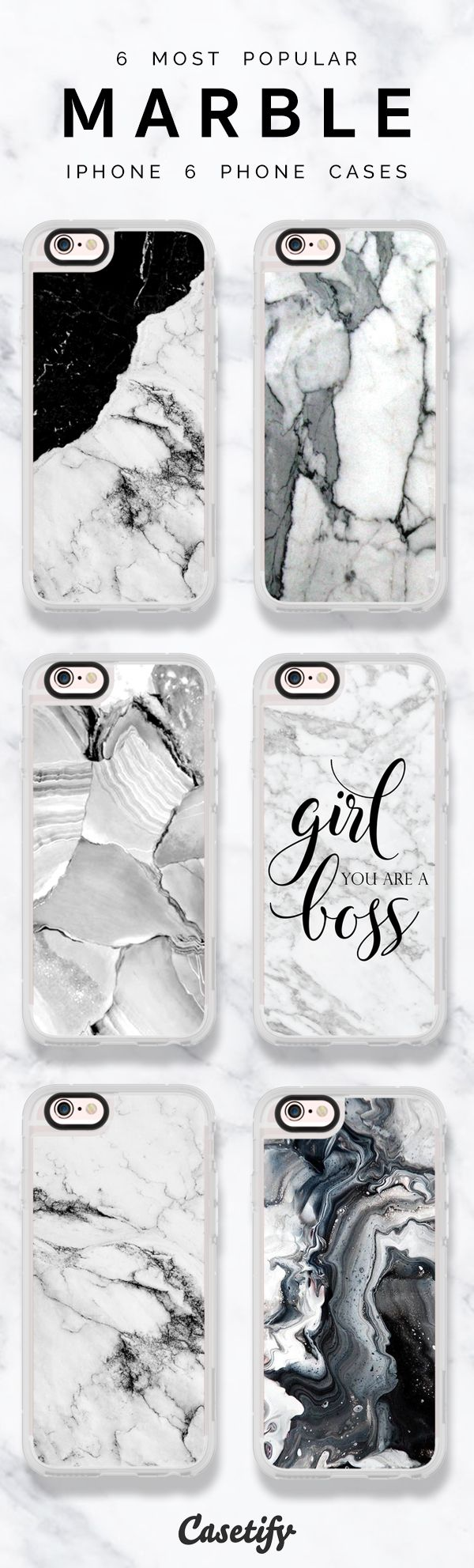 6 most popular marble iPhone 6 protective phone case designs | Click through to see more iPhone phone case ideas >>> https://www.casetify.com/artworks/UmppbTnGaX | @casetify