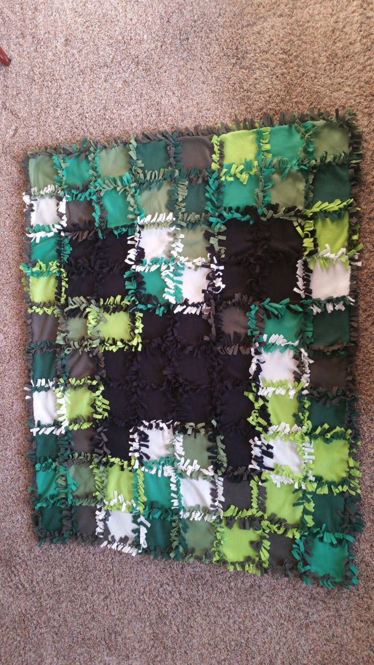 minecraft quilt tie fleece blanket by klingkreations on Etsy