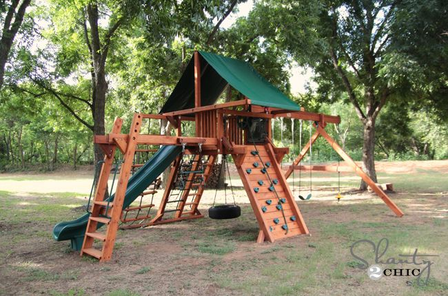 Wood Swing Set (this looks better than the one we have in the yard)
