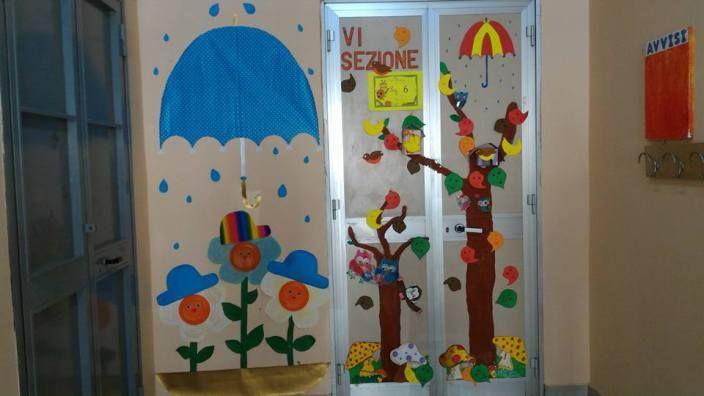 murales con porta autunnale