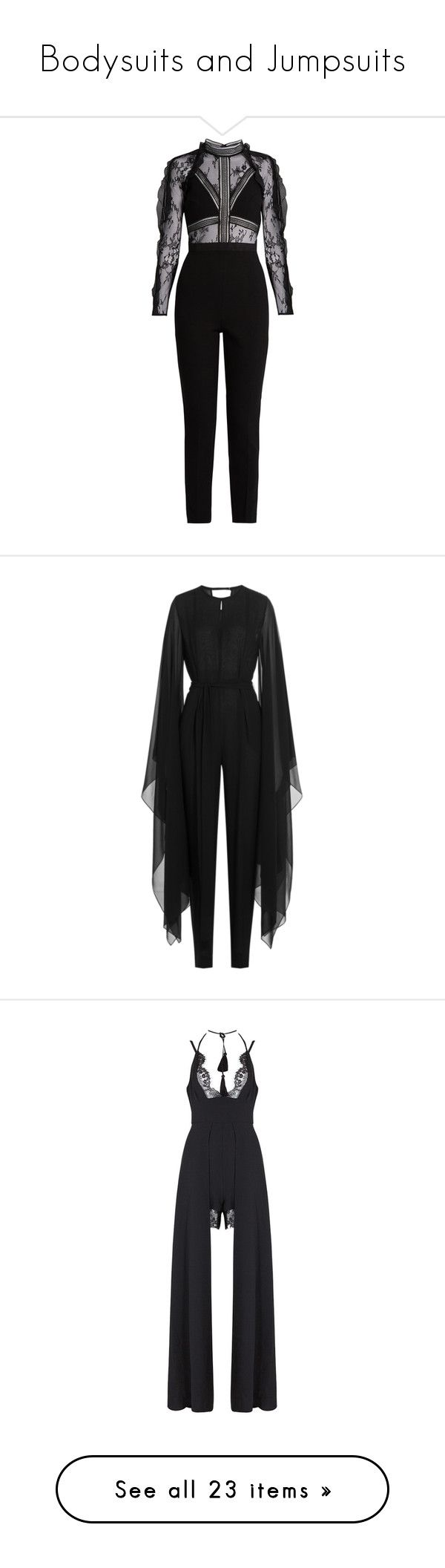 """Bodysuits and Jumpsuits"" by horror-hottie ❤ liked on Polyvore featuring jumpsuits, romper, black, special occasion jumpsuits, self portrait jumpsuit, slim leg jumpsuit, flower print romper, floral jumpsuit, dresses and rompers"