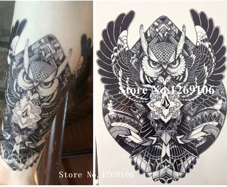2016 High Quality 21 X 15 CM BIG BLACK OWL Body Art Decal Waterproof Tattoo #119