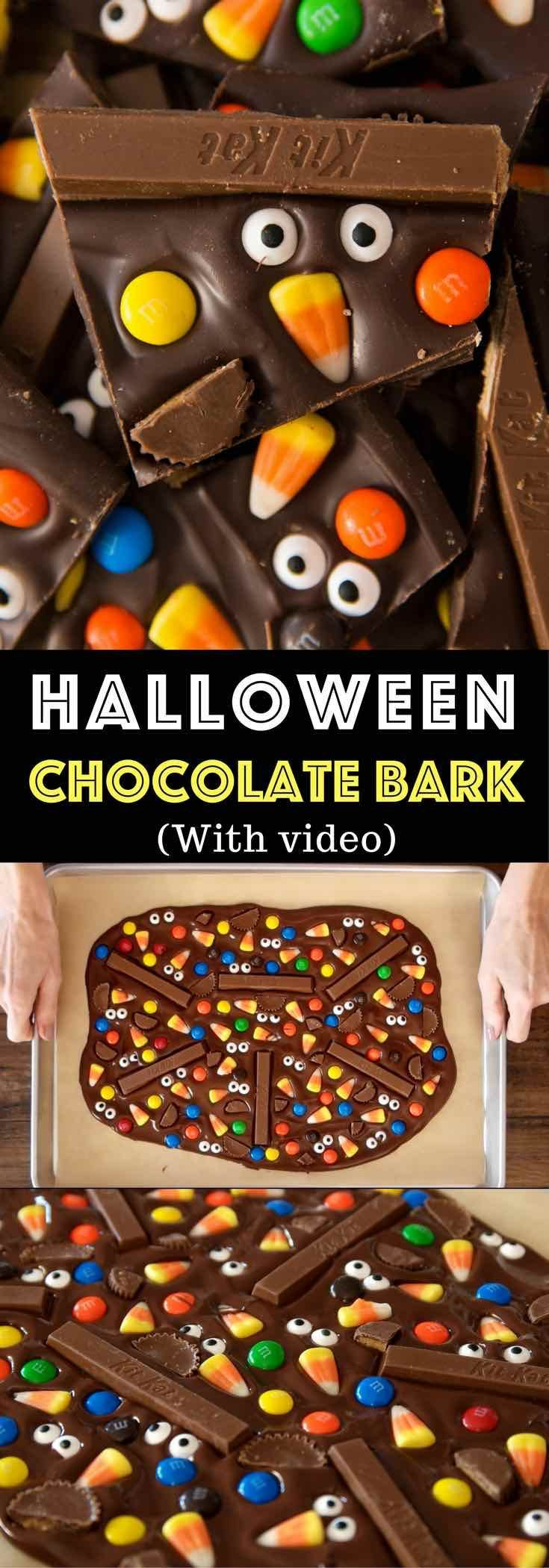 Fun and delicious Halloween Chocolate Bark is one of the easiest Halloween recipes. Melt chocolate and add your favorite candy such as Kit Kat, M&Ms, Peanut Butter Cups and candy corns. It makes a perfect party treat. Fun recipe to make with kids. Dessert, Party Food. Vegetarian. Fun and yummy Halloween recipe. Video recipe. | Tipbuzz.com
