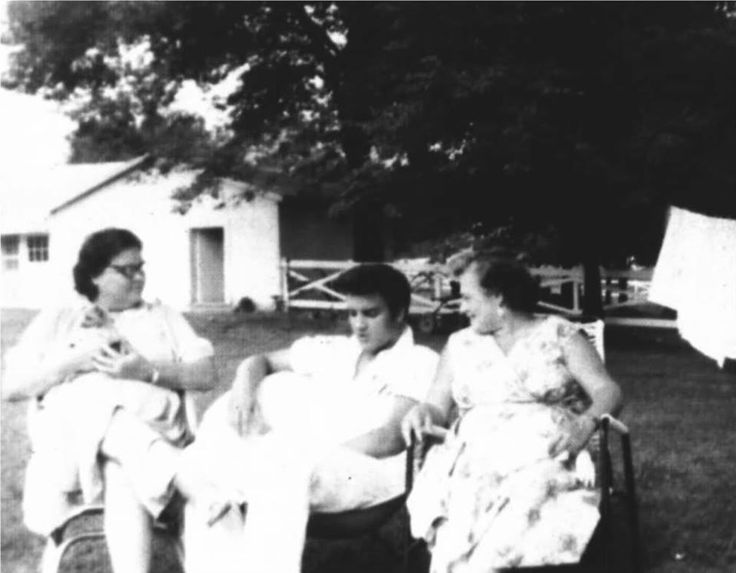 At Graceland - August 9, 1957 Gladys and Elvis Presley with actor Nick Adams' mother, Catherine Kutz Adamshock.