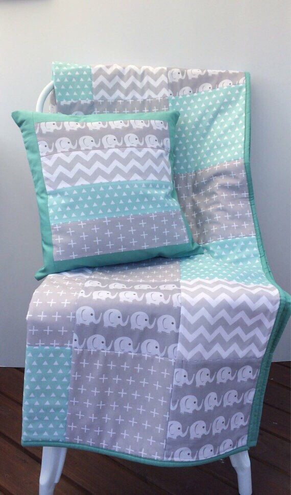 Mint and Grey Elephants Patchwork Cot / Crib Quilt with Cushion Cover & Bunting Flags Available