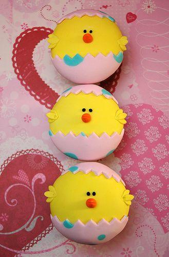 Cupcakes pollitos de Pascua.