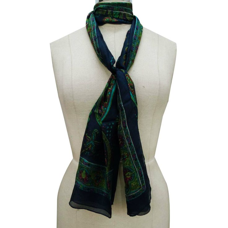 Floral Pattern Scarf Blue Soft Women Stole Summer Shoulder Wrap Free Shipping ..this is img
