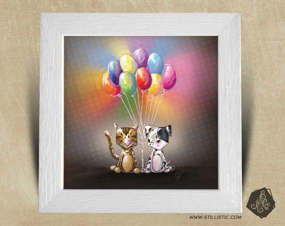 Cadre carr 25x25 avec illustration chiot chaton et for Cadre pour chambre enfant