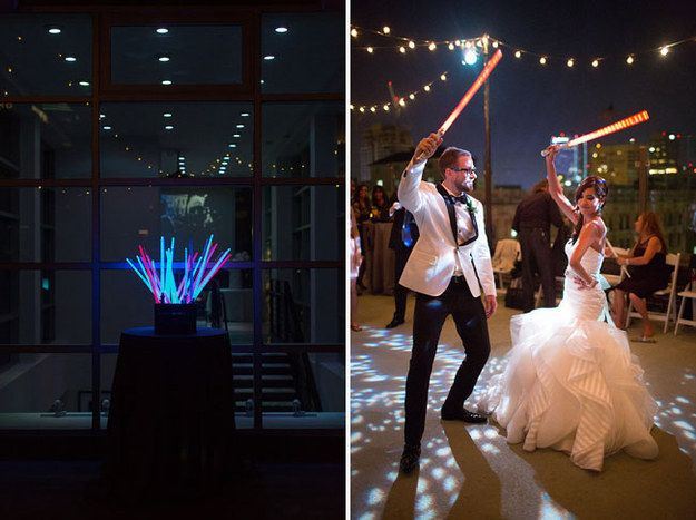 And the newlyweds lorded over the dance floor with light sabers in hand. | This Couple Just Had The Classiest Star Wars Wedding Ever: