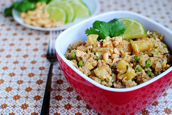 Thai Fried Quinoa. Made this except with edamame, broccoli, and basil. So yummy with coconut milk.