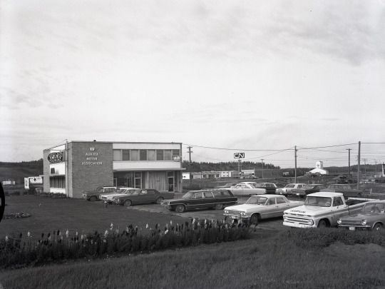 The AMA building and CNR station in North Red Deer, looking north east 1967.