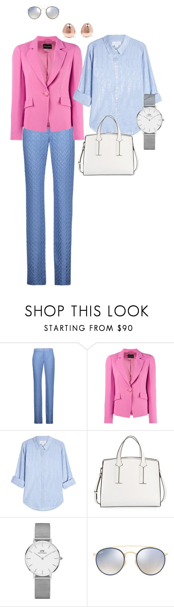 """Pink&blue"" by markova-elena on Polyvore featuring мода, Missoni, Emporio Armani, Velvet, French Connection, Daniel Wellington, Ray-Ban и Monica Vinader"