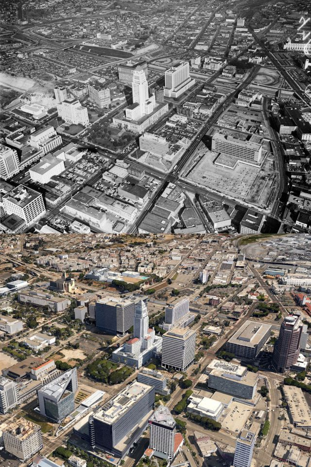 Aerial views of Bunker Hill and the Civic Center, 1955-c.2013