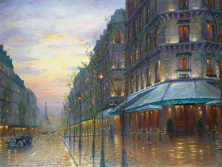 Живопись, Париж, Франция, Эйфелева башня, кафе де Пари, улица, здания, вечер, ретро обои, картинки, фото