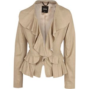 this is closer, but it would need to be lighter - for that gold & those shoes; skirt ivory leather jacket with ruffles | jackets oasis jackets off white frill front drape leather jacket ...