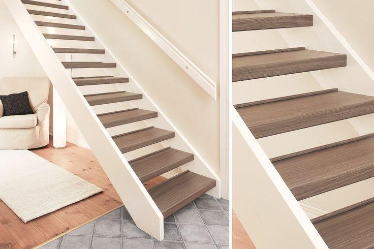 Renoveringstrappsteg laminat, rak och öppen trappa