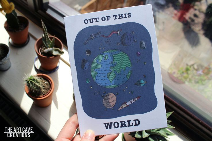 Greetings Card Colour // Space Design - Out Of This World // A5 + Envelope Included // Birthday Gift // Pen Pal by TheArtCaveCreations…