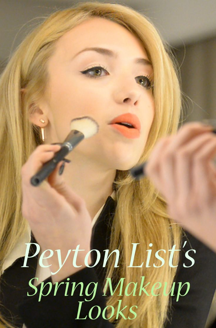 Peyton List shows TV Guide her makeup look for this spring.