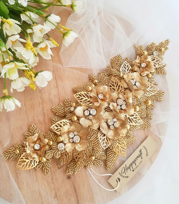 Gold sequins hairpiece,  Lace Headpiece