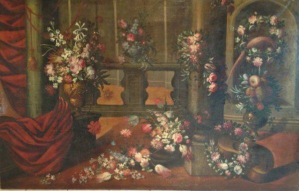 Natura morta con fiori e strumenti musicali XVII secolo