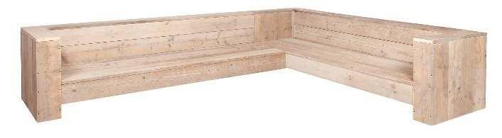 Hoekbank, gratis bouwtekening voor steigerhout.